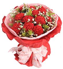 笑靥如花的爱:11只红色康乃馨