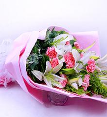 温馨相伴:11枝粉康乃馨