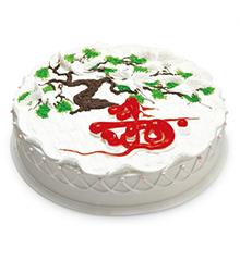 万寿无疆:圆形鲜奶蛋糕