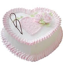 粉色迷情:心形鲜奶蛋糕