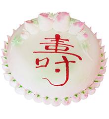 蟠桃献寿:圆形鲜奶蛋糕