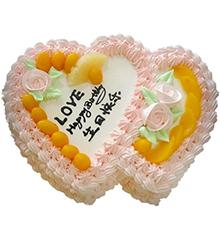 天涯同好:双心鲜奶水果蛋糕