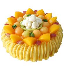 秋的问候:圆形水果蛋糕