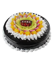 甜蜜果盘:圆形鲜奶巧克力蛋糕