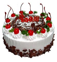 蝶舞:圆形鲜奶蛋糕,水果,巧克力屑装饰