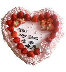 幻舞曲:心形鲜奶水果蛋糕,时令水果