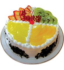 什锦水果:圆形鲜奶水果蛋糕