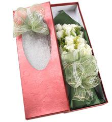 纯洁的爱:19枝白玫瑰花盒