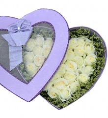 想你的夜半时分:33枝白玫瑰花盒