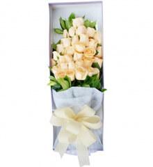 在一起的感觉:33枝香槟玫瑰花盒