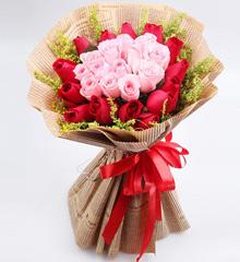 爱的寄语:27枝粉色红色玫瑰混搭