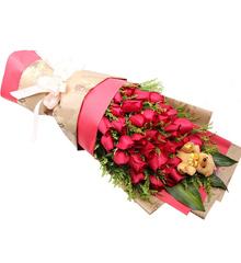 美丽相约:33红玫瑰,一个小熊