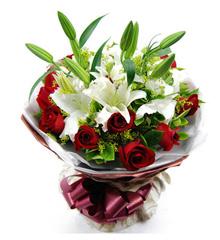 爱的诺言:11枝红玫瑰 2枝多头百合 全国同城快递配送鲜花