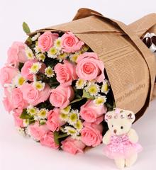甜蜜爱人:19朵粉玫瑰花束