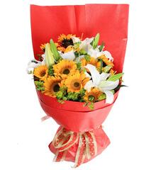 欢乐时光:向日葵白百合鲜花