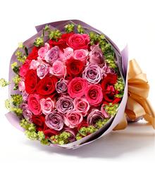暗香温柔:33枝混色玫瑰鲜花速递北京上海市深圳广州南京杭州 网上花店