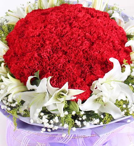 66朵康乃馨,19朵香水百合
