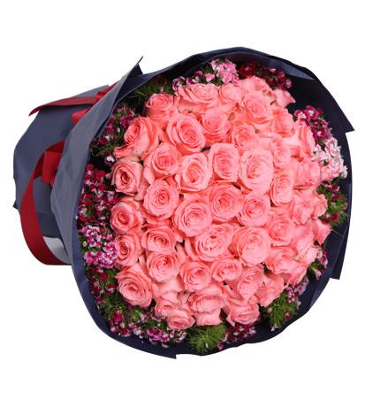 浪漫缤纷:戴安娜粉玫瑰50枝
