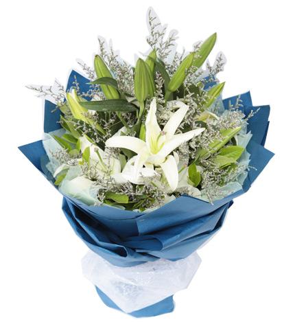 蓝色之恋:多头白香水百合3枝