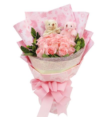 幸福相伴:16枝粉玫瑰,5寸小熊2只