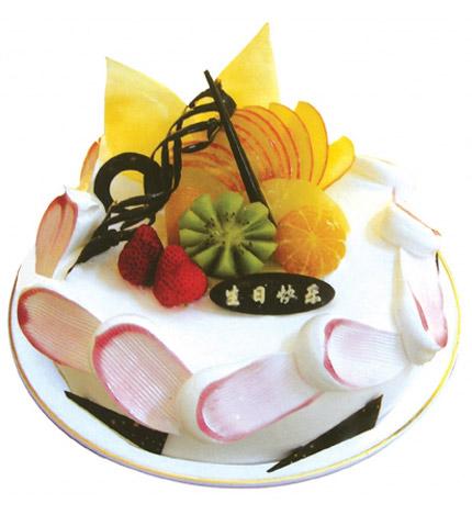 腊尽春回:圆形鲜奶水果蛋糕