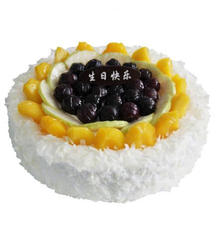 雪上芭蕾:圆形鲜奶水果蛋糕