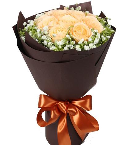 爱的华尔兹:11朵香槟玫瑰鲜花花束