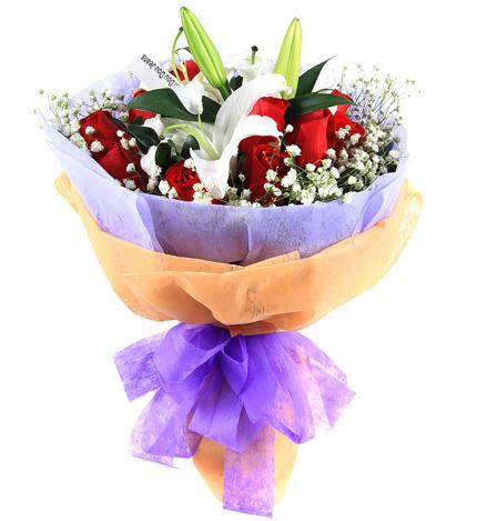 爱的祈祷:香水百合红玫瑰鲜花速递,上海北京深圳广州花店